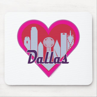 Dallas Skyline Heart Mouse Pads