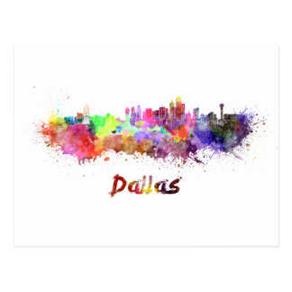 Dallas skyline in watercolor postcard