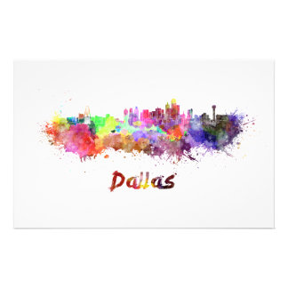 Dallas skyline in watercolor stationery