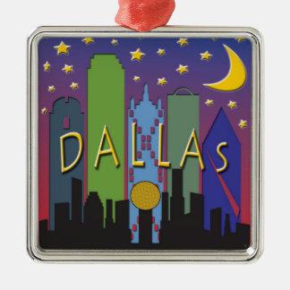Dallas Skyline nightlife Metal Ornament