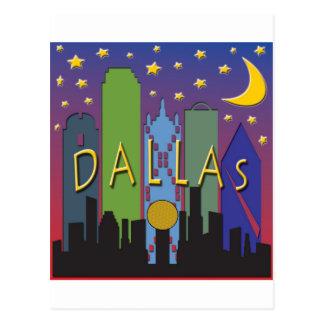 Dallas Skyline nightlife Postcard
