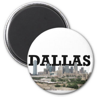 Dallas Skyline with Dallas in the Sky 2 Inch Round Magnet