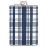 Dallas Sports Fan Navy Blue Silver Plaid Striped Hip Flask