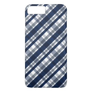 Dallas Sports Fan Navy Blue Silver Plaid Striped iPhone 8 Plus/7 Plus Case