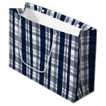 Dallas Sports Fan Navy Blue Silver Plaid Striped Large Gift Bag