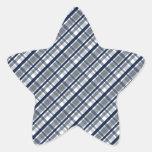 Dallas Sports Fan Silver Navy Blue Plaid Striped Star Sticker