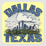 Dallas, Tejas Calcomanía Cuadradas Personalizada