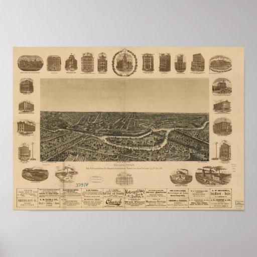 Dallas Texas 1892 Antique Panoramic Map Poster