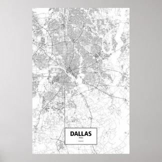 Dallas, Texas (black on white) Poster