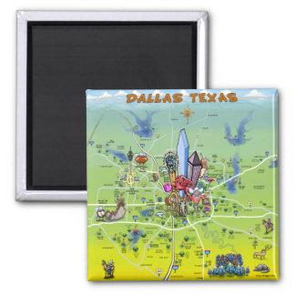 Dallas Texas Cartoon Map 2 Inch Square Magnet