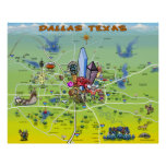Dallas Texas Cartoon Map Print