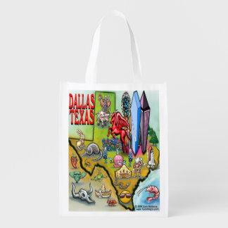 Dallas Texas Cartoon Map Grocery Bag