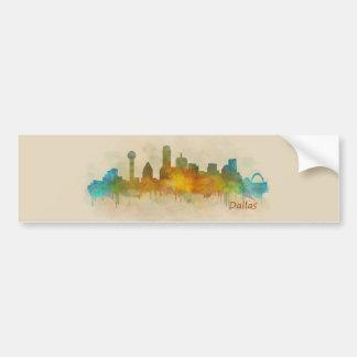 Dallas Texas City Watercolor Skyline Hq v3 Bumper Sticker