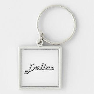 Dallas Texas Classic Retro Design Silver-Colored Square Keychain