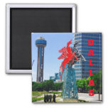 Dallas Texas Downtown Landmarks 2 Inch Square Magnet