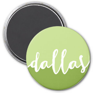 Dallas, Texas| Green Ombre Circle 3 Inch Round Magnet
