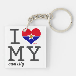 Dallas Texas I love my own city Double-Sided Square Acrylic Keychain