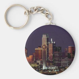 Dallas, Texas night skyline Basic Round Button Keychain
