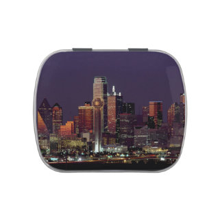 Dallas, Texas night skyline Jelly Belly Candy Tin