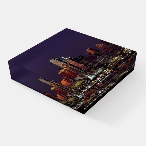 Dallas, Texas Nightscape ID606 Paperweight