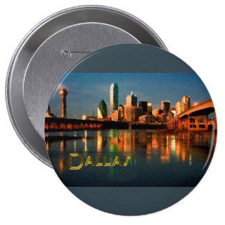 Dallas Texas Skyline at Dusk 4 Inch Round Button