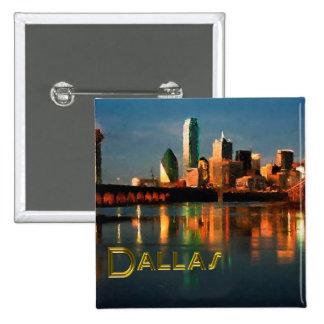 Dallas Texas Skyline at Dusk 2 Inch Square Button