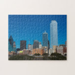 "Dallas Texas skyline at sunset Jigsaw Puzzle<br><div class=""desc"">Dallas Texas skyline at sunset of modern skyscrapers in downtown Dallas city across expressway 