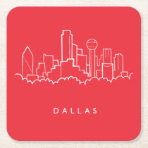 Dallas Texas Skyline Square Paper Coaster