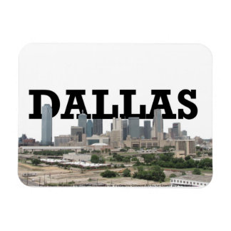 Dallas Texas Skyline with Dallas in the Sky Rectangular Photo Magnet