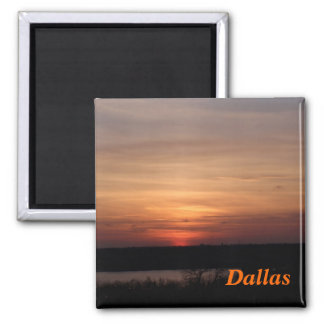 Dallas Texas Sunset 2 Inch Square Magnet