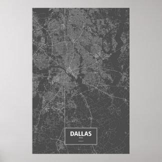 Dallas, Texas (white on black) Poster