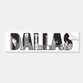 Dallas Text with Buildings Outline Drawing Bumper Sticker