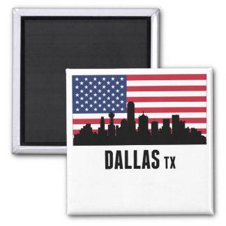 Dallas TX American Flag 2 Inch Square Magnet