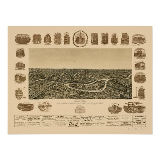 Dallas, TX Panoramic Map - 1892 Poster