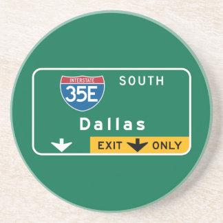 Dallas, TX Road Sign Beverage Coaster
