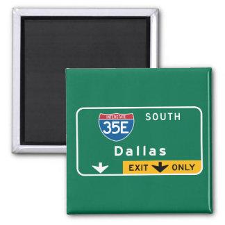 Dallas, TX Road Sign 2 Inch Square Magnet
