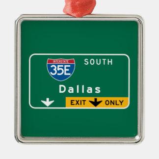 Dallas, TX Road Sign Metal Ornament