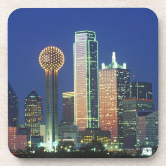 'Dallas, TX skyline at night with Reunion Tower' Beverage Coaster