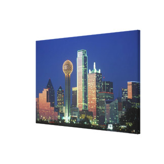 'Dallas, TX skyline at night with Reunion Tower' Canvas Print