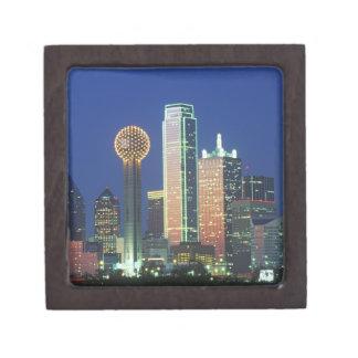 'Dallas, TX skyline at night with Reunion Tower' Jewelry Box
