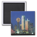 'Dallas, TX skyline at night with Reunion Tower' 2 Inch Square Magnet