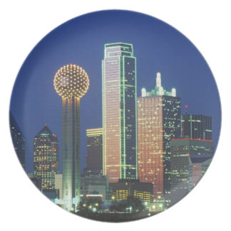 'Dallas, TX skyline at night with Reunion Tower' Melamine Plate