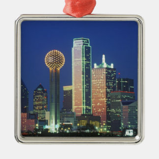 'Dallas, TX skyline at night with Reunion Tower' Metal Ornament