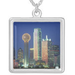 'Dallas, TX skyline at night with Reunion Tower' Personalized Necklace