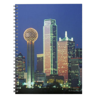 'Dallas, TX skyline at night with Reunion Tower' Notebook
