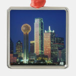 'Dallas, TX skyline at night with Reunion Tower' Square Metal Christmas Ornament