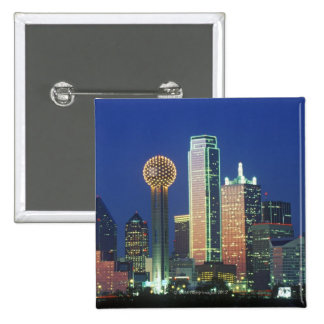 'Dallas, TX skyline at night with Reunion Tower' Pinback Button