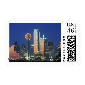 Dallas TX skyline at night with Reunion Tower Postage Stamps