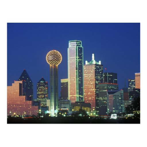 'Dallas, TX skyline at night with Reunion Tower' Post Cards