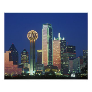 'Dallas, TX skyline at night with Reunion Tower' Poster